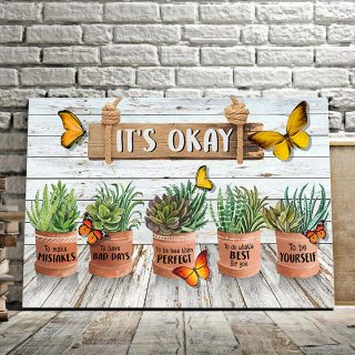 Butterfly Gardening Succulent It's Okay Horizontal Canvas - 0.75 & 1.5 In Framed -Wall Decor, Canvas Wall Art