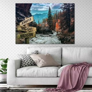 Pine Forest Multi-Names Premium Canvas - Street Signs Customized With Names- 0.75 & 1.5 In Framed -Wall Decor, Canvas Wall Art