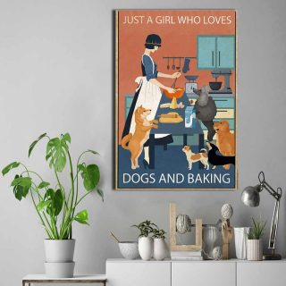 Just A Girl Who Loves Baking And Dogs Vintage 0.75 & 1.5 In Framed Canvas -Best Gift for Prt Lover- Home Living, Wall Decor, Canvas Wall Art