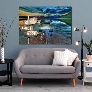 Sunset On The River Wharf Multi-Names Canvas - Family Street Signs Customized With Names- 0.75 & 1.5 In Framed -Wall Decor, Canvas Wall Art