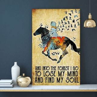 Horse And Into The Forest I Go To Close My Mind Canvas - 0.75 & 1.5 In Framed - Home Living - Wall Decor, Canvas Wall Art