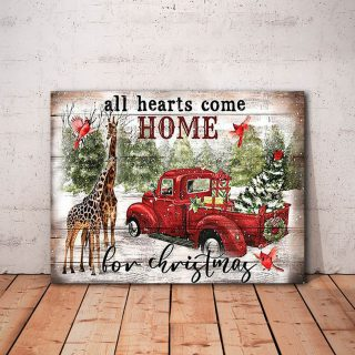 All Hearts Come Home for Christmas Giaffe 0.75 In & 1.5 In Framed Canvas -Christmas Gifts- Wall Decor, Wall Art