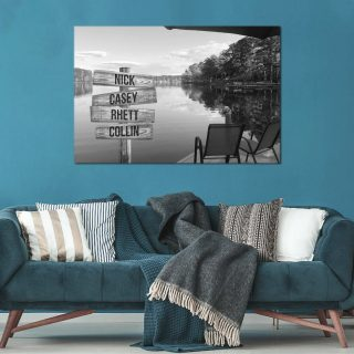 Personalized Lake View 0.75 & 1.5 In Framed Canvas -Street Signs Customized With Names - Wall Decor,Canvas Wall Art