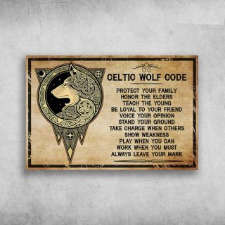 Celtic Wolf Code Protect Your Family Honor The Elders Teach Canvas - 0.75 & 1.5 In Framed -Wall Decor,Canvas Wall Art