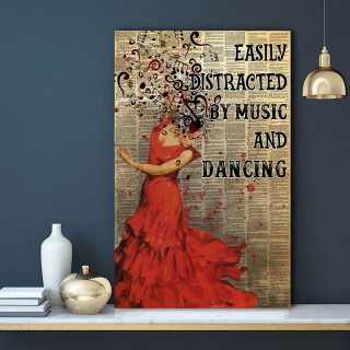 Girl Flamenco Dancing Easily Distracted By music And Dance 0.75 & 1.5 In Framed Canvas - Gifts For Her -Home Decor- Canvas Wall Art