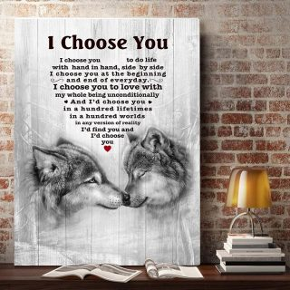 The Wolf – I Choose You To Do Life With Hand In Hand, Side By Side 0.75 & 1.5 In Framed Canvas - Home Living, Wall Decor, Canvas Wall Art