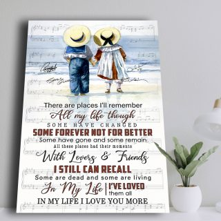 In My Life Lyris Song- There Are Places I'll Remember Canvas - Couple Canvas- 0.75 & 1.5 In Framed -Wall Decor, Wall Art