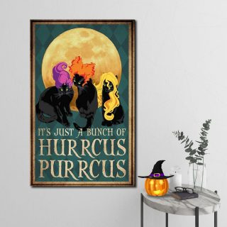 Black Cat It's Just a Bunch Of Hurrcus Purrcus Canvas- Best Halloween Gifts- 0.75 & 1.5 In Framed- Home Living - Wall Decor, Canvas Wall Art