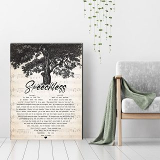 Personalized Speechless Lyrics Canvas - Anniversary Gifts- 0.75 & 1.5 In Framed -Wall Decor, Canvas Wall Art