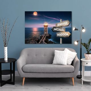 Personalized Beautiful Lighthouse and Moon Canvas -Street Signs Customized With Names - 0.75 & 1.5 In Framed -Wall Decor, Canvas Wall Art