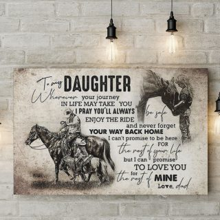 To My Daughter Wherever Your Journey In Life - Always Enjoy The Ride 0.75 & 1.5 In Framed Canvas - Wall Decor, Canvas Wall Art
