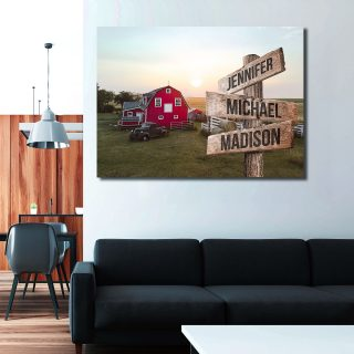 Canada Barn Sunset Multi-Names Premium Canvas - Family Street Signs Customized With Names- 0.75 & 1.5 In Framed -Wall Decor, Canvas Wall Art