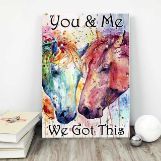 Two Colorful Horses – You And Me, We Got This 0.75 & 1.5 In Framed Canvas -Gift Ideas - Home Decor- Canvas Wall Art