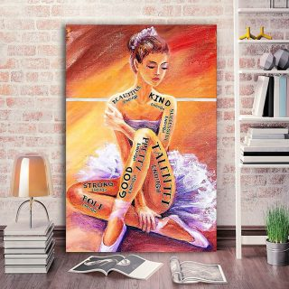 Ballet Girl I Am Enough Woman Loved Ballet Canvas- 0.75 & 1.5 In Framed Canvas - Home Wall Decor, Wall Art