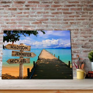 Personalized Blue Sky and Beach Dock 0.75 & 1.5 In Framed Canvas -Street Signs Customized With Names - Wall Decor,Canvas Wall Art