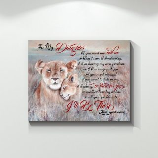 Lion To My Daughter If You Need Me I'll Be There Canvas - 0.75 In & 1.5 In Framed -Wall Decor, Canvas Wall Art