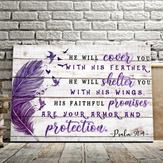 Feather and Bird Psalm Quotes- He Will Cover You With His Feathers 0.75 & 1.5 In Framed Canvas - Home Decor, Canvas Wall Art