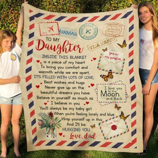 From Dad To My Daughter Inside This Blanket Letter Airmail Envelope Mail Fleece Blanket -Christmas Best Gifts For Daughter From Dad