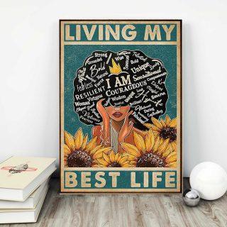 Sunflower Black Girl I am Living My Best Life Canvas - 0.75 & 1.5 In Framed - Home Decor, Canvas Wall Art