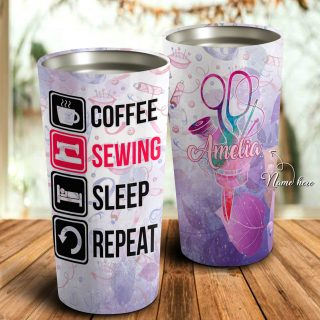 Coffee Sewing Sleep Repeat Personalized Tumbler- Mother's Day Gift, Mom Tumbler, Mom Cup, Best Mom Gift