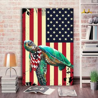 Turtle America Flag Canvas- 0.75 & 1.5 In Framed Canvas - Home Wall Decor, Wall Art