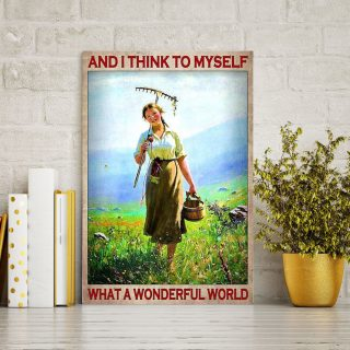 Farm Woman And I Think To Myself What A Wonderful World Flower Field 0.75 & 1.5 In Framed Canvas - Wall Decor, Canvas Wall Art