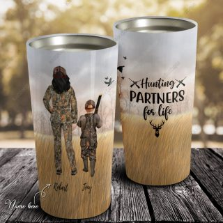 Custom Hunting Partners Personalized Tumbler 20oz Gifts For Hunting Lovers- Birthday Gift, Cup for Son, Best Son Gift