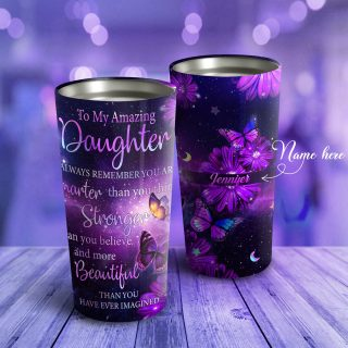 To My Amazing Daughter Galaxy Butterfly- Personalized Tumbler, Daughter Cups, Daughter Mugs- Best Gift for Daughter