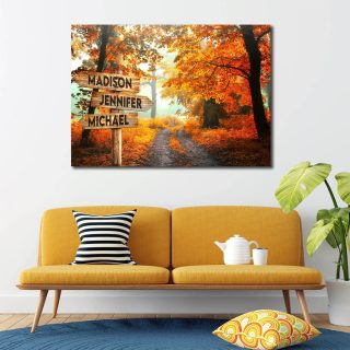 Road Autumn Multi-Names Canvas - Family Street Signs Customized With Names- 0.75 & 1.5 In Framed -Wall Decor, Canvas Wall Art