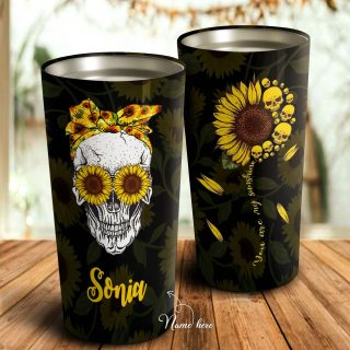 You Are My Sunshine - Skull Sunflower- Personalized Tumbler- Daughter Gift- Best Gift for Daughter