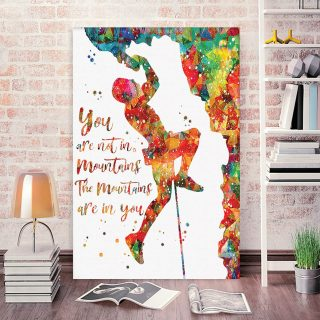 The Mountains Are In You Climbing 0.75 & 1.5 In Framed Canvas - Climber Gifts- Home Decor, Canvas Wall Art