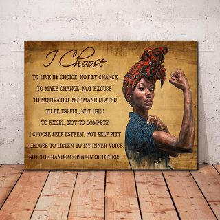 Black Woman -I Choose To Live By Choice Not Manipulated To Be Useful Not Used To Make Changes 0.75 & 1.5 In Framed Canvas Wall Art