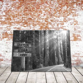 Personalized Black and White Tranquil Road Multi-Names Premium Canvas -Street Signs Customized With Names -0.75 & 1.5 In Framed Canvas