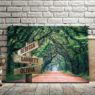 Personalized Trees Overhanging Road Canvas - Street Signs Customized With Names - 0.75& 1.5 In Framed -Wall Decor, Canvas Wall Art