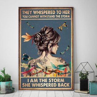 Dragonfly They Whispered to Her You Cannot Withstand the Storm I Am the Storm Pink Ribbon Canvas -0.75 & 1.5 In Framed -Wall Decor, Wall Art
