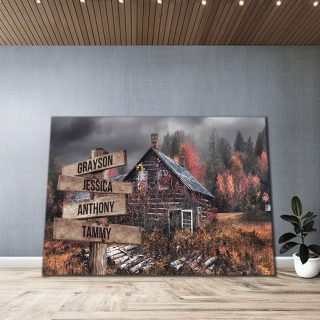 Autumn Home Barn Multi-Names Premium Canvas - Street Signs Customized With Names- 0.75 & 1.5 In Framed -Wall Decor, Canvas Wall Art