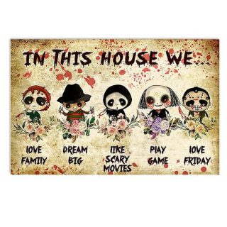 In This House We Love Family Dream Big Like Scary Movie Play Game Love Friday Canvas- 0.75 & 1.5 In Framed -Wall Decor,Canvas Wall Art