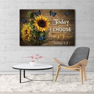 Butterfly Sunflower Today I Choose Joy Horizontal 0.75 & 1.5 In Framed Canvas - Home Decor, Canvas Wall Art