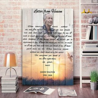 Personalized Letter From Heavan Canvas- Memorial Canvas- Custom Photo- 0.75 In & 1.5 In Framed -Wall Decor, Canvas Wall Art