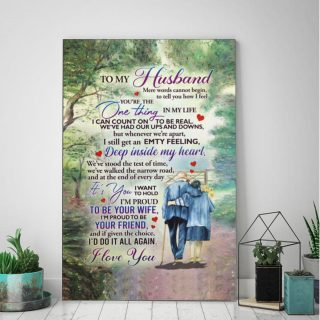From Wife To Husband I'm Proud To Be Your Wife Your Friend Romantic - 0.75 & 1.5 In Framed Canvas - Home Wall Decor, Wall Art