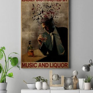 Easily Distracted By Music And Liquor Canvas - 0.75 & 1.5 In Framed Canvas - Wall Decor, Canvas Wall Art