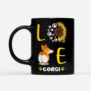 Love Sunflower Corgi - Black Mug - Sunflower Mug    Gifts for Sunflower Lovers   Sunflower Cup