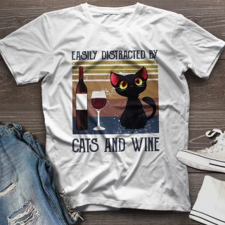 Easily Distracted By Cats And Wine Vintage T-shirt- Cat Lady- Cat Lovers- Gifts for Cat Lovers