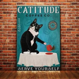 Funny Catitude Serve Yourself Canvas 0.75 & 1.5 In Framed - Wall Decor, Canvas Wall Art- Best Gift for Cat Lovers
