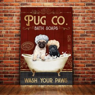 Funny Couple Pug Dog Bath Soap 0.75& 1.5 In Framed Canvas - Gift for Dog Lovers - Funny Dog Canvas- Home Living- Wall Decor, Canvas Wall Art