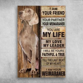 I Am Your FriendI Am Your Weimaraner 0.75 & 1.5 In Framed Canvas - Best Gift for Pet Lovers - Home Living - Wall Decor