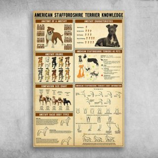 American Staffordshire Terrier Knowledge Canvas - Best Gift for Pet Lovers - Home Living - Wall Decor
