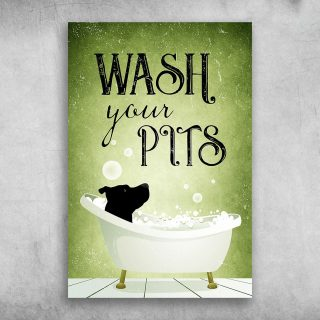 Wash-Your-Pits-Dogs 1,5 Framed Canvas - Best Gift for Animal Lovers - Home Living - Wall Decor