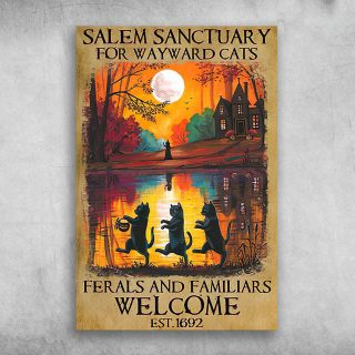 Salem Sanctuary For Wayward Cats Ferals And Familiars Est 1692- 1,5 Framed Canvas - Best Gift for Animal Lovers - Home Living - Wall Decor
