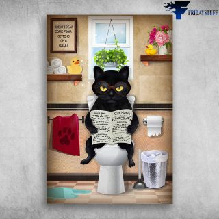 Funny Black Cat Read Newspaper In Toilet Great Ideas Come - Canvas Wall Art - Canvas Wall Art - Best Gift for Cat Lovers